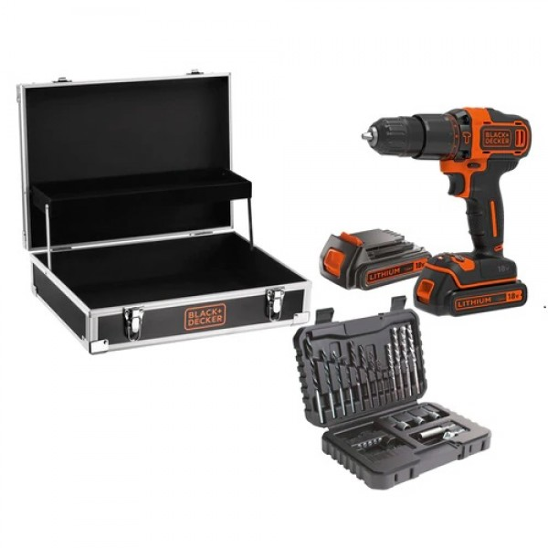 BLACK DECKER BDCHD18B2FC KIT AVVITATORE PERCUSSIONE 18V 2 BATTERIE 32 ACCESSORI