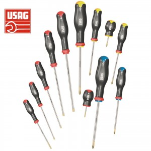 USAG 324 SH12 SERIE SET KIT 12 GIRAVITI PROFESSIONALI CACCIAVITI CROCE E TAGLIO