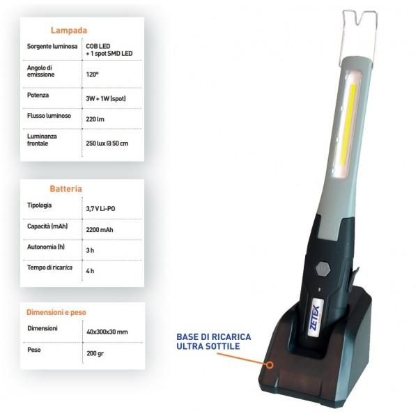ZETEK by ZECA KB125 LAMPADA A SLIM LED CON BASE DI RICARICA
