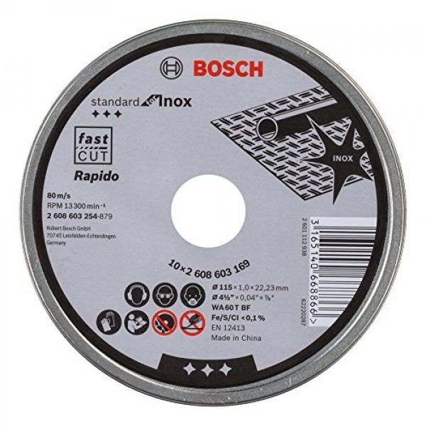 BOSCH 2608603254 MOLE DISCHI ABRASIVI 115X1 mm PER ACCIAIO INOX  PZ.10 DISCO ABR