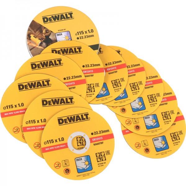 DEWALT DT3506 SET DI 10 MOLE DISCHI DA TAGLIO 115x1 mm DISCO PER ACCIAIO INOX