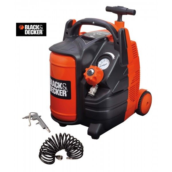 BLACK & DECKER COMPRESSORE ARIA PORTATILE TROLLEY 5 LITRI 10 BAR 1,5 HP SECCO 6