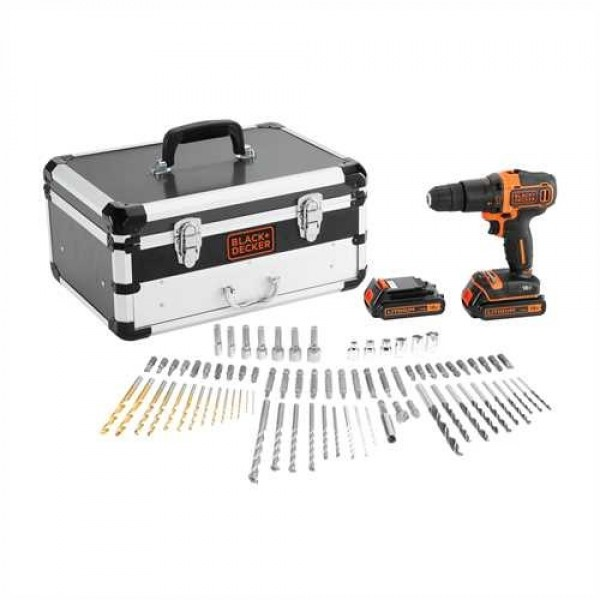 KIT BLACK DECKER TRAPANO AVVITATORE A BATTERIA LITIO PERCUSSIONE 18V BDC718AS2F