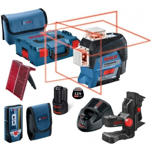 BOSCH LIVELLA LASER GLL3-80C SET + SUPPORTI BM1 RILEVATORE LR7 BLUETOOTH B LITIO
