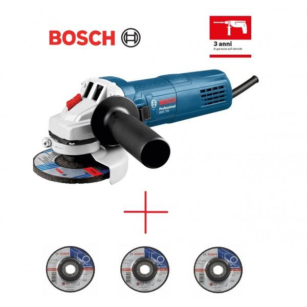 BOSCH GWS 750 SMERIGLIATRICE ANGOLARE PICCOLA PROFESSIONALE 750 WATT + 3 DISCHI