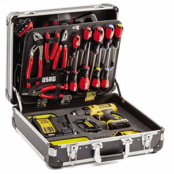 Usag 002 UD valigia con assortimento 74 utensili + trapano avvitatore dewalt
